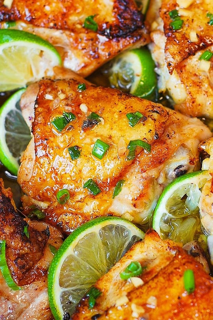 Медовый цыплёнок с лаймом, в духовке