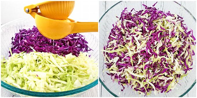 Фото рецепта - Салат из краснокочанной и белокочанной капусты с огурцом - шаг 2