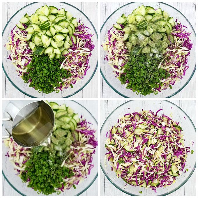 Фото рецепта - Салат из краснокочанной и белокочанной капусты с огурцом - шаг 3