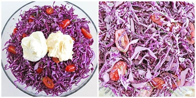 Фото рецепта - Салат из краснокочанной капусты с помидорами черри - шаг 3