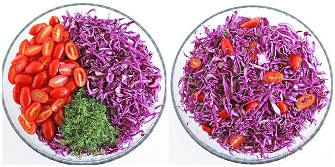 Фото рецепта - Салат из краснокочанной капусты с помидорами черри - шаг 2