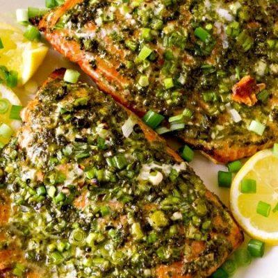Филе семги, запеченное в мятно-базиликовом соусе - рецепт с фото