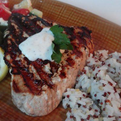 Маринованный тунец, жареный на сковороде гриль - рецепт с фото