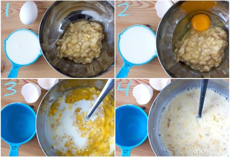 Фото рецепта - Оладьи с бананами и шоколадом - шаг 3