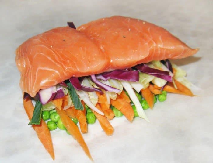 Фото рецепта - Семга, запеченная в духовке с овощами и апельсином - шаг 5
