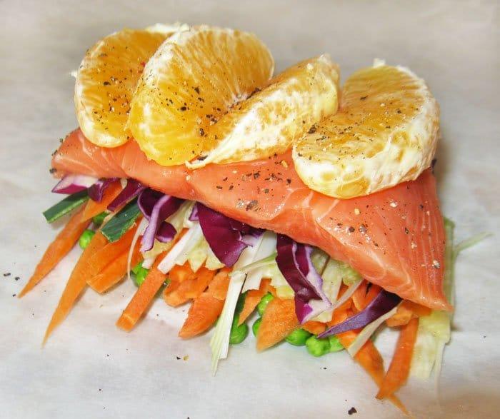 Фото рецепта - Семга, запеченная в духовке с овощами и апельсином - шаг 6