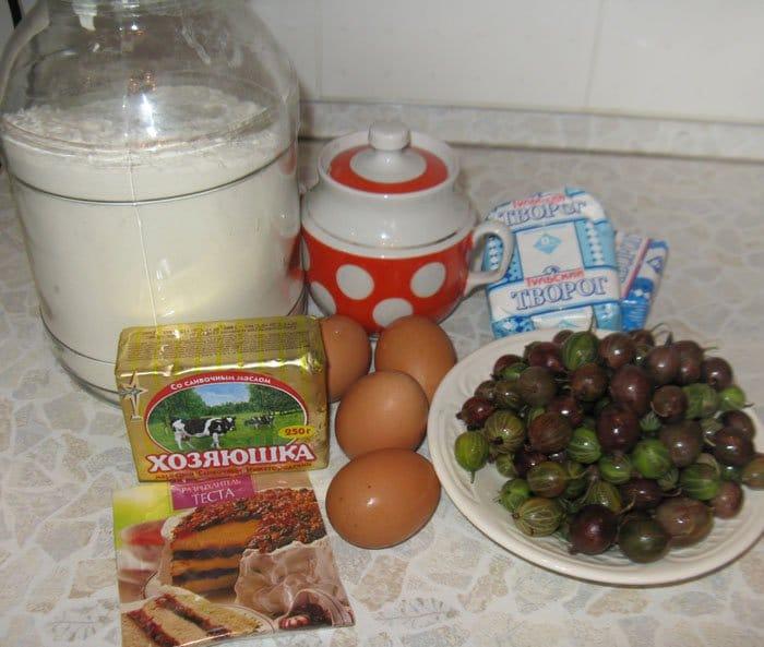 Фото рецепта - Пирог из творога с крыжовником - шаг 1