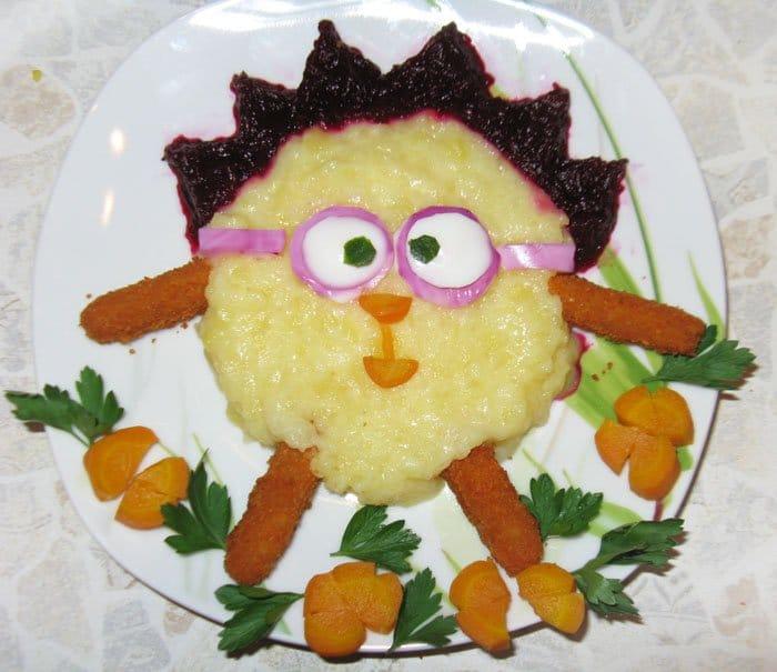 Картофельное пюре с рыбной котлетой, оформление - рецепт с фото
