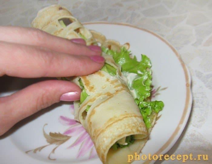 Фото рецепта - Блины макраме с творожным сыром - шаг 5
