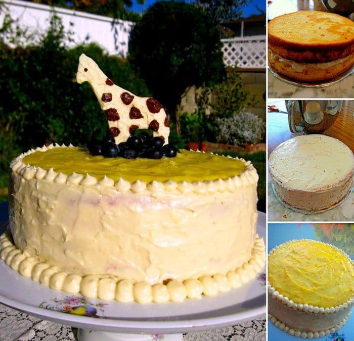 Фото рецепта - Лимонный торт «Жираф» с творожным кремом - шаг 7