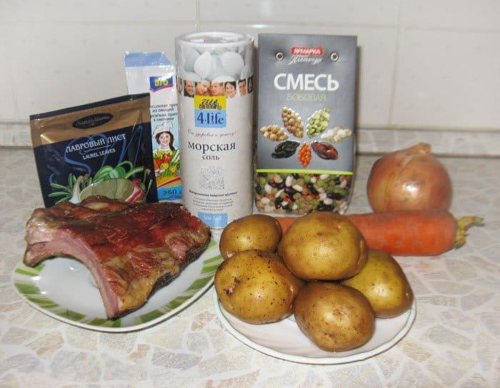 Фото рецепта - Суп из бобовых с копченостями - шаг 1