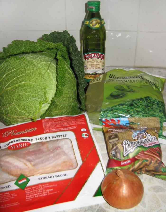 Фото рецепта - Овощной суп пюре из савойской капусты с беконом - шаг 1