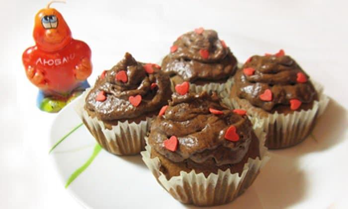 Шоколадные капкейки с шоколадным кремом - рецепт с фото