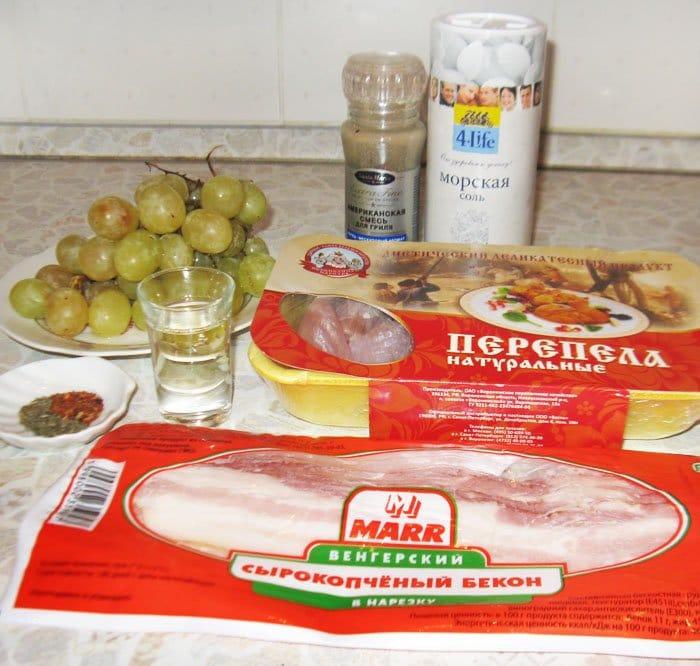 Фото рецепта - Запеченные перепела в беконе с виноградом - шаг 1