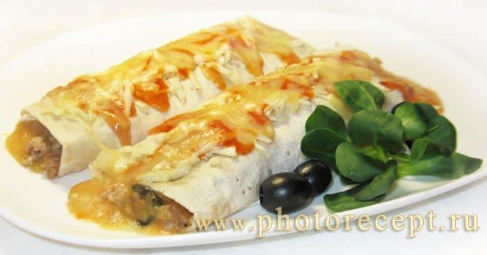 Фото рецепта - Буррито с фаршем и белой фасолью - шаг 9