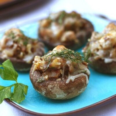 Шампиньоны, фаршированные баклажанами и грецкими орехами - рецепт с фото