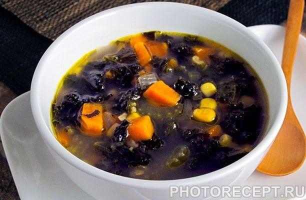 Овощной суп из капусты и консервированной кукурузы - рецепт с фото