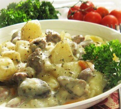 Жаркое с куриными сердечками и картофелем - рецепт с фото