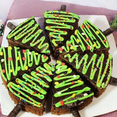 Темное шоколадное пирожное Ёлка - рецепт с фото