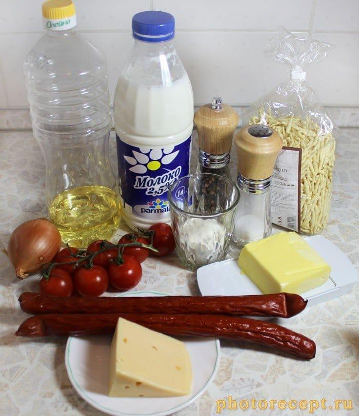 Фото рецепта - Запеченные макароны с колбаской под соусом бешамель - шаг 1
