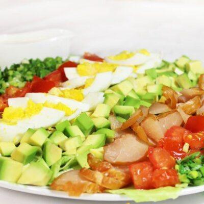 Салат с авокадо и карпаччо из курицы - рецепт с фото