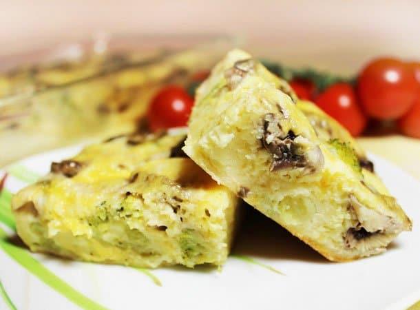 Запеканка из брокколи с грибами и сыром - рецепт с фото