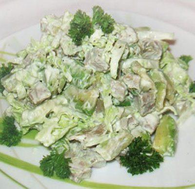 Салат с языком и авокадо - рецепт с фото