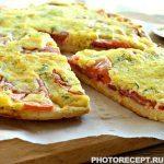 Пицца-запеканка с колбасой и помидорами