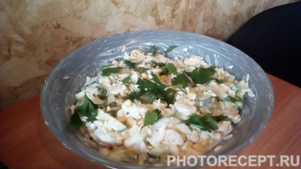 Фото рецепта - Салат с креветками и рисом - шаг 9