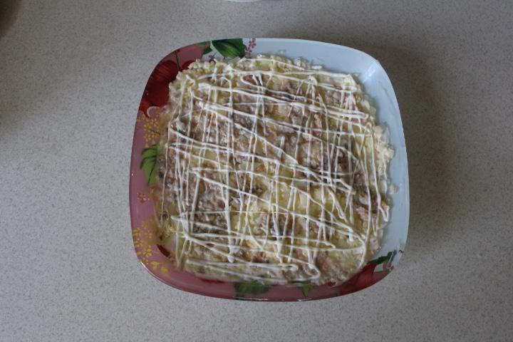 Фото рецепта - Нежный салат Мимоза с лососем - шаг 8