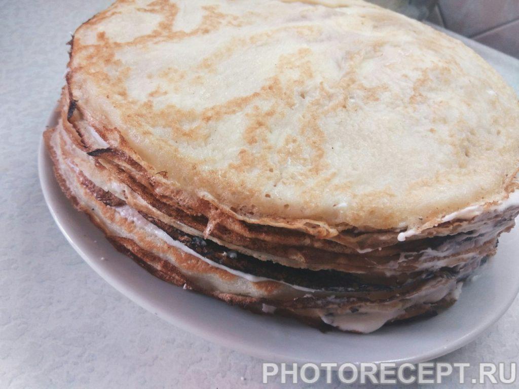 Фото рецепта - Блинный торт со сливочным кремом - шаг 10