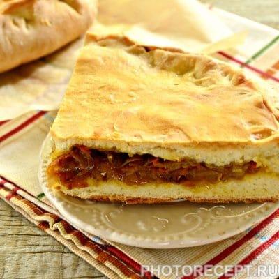 Мясной пирог с капустой - рецепт с фото