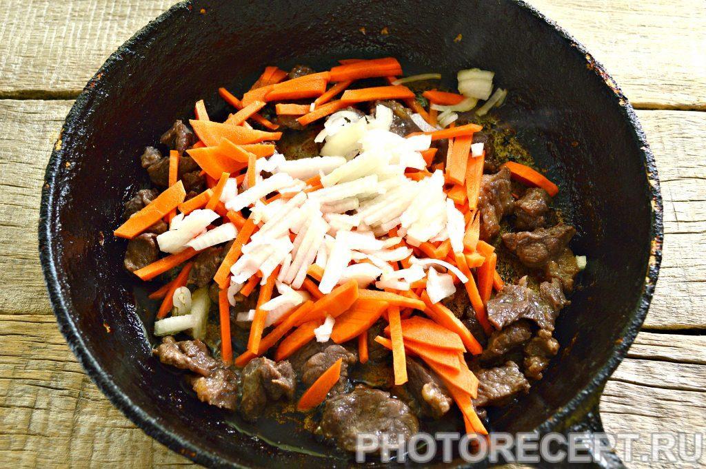 Фото рецепта - Тушеная картошка с баклажанами и говядиной - шаг 2