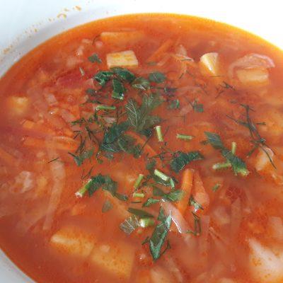 Борщ без мяса с фасолью - рецепт с фото