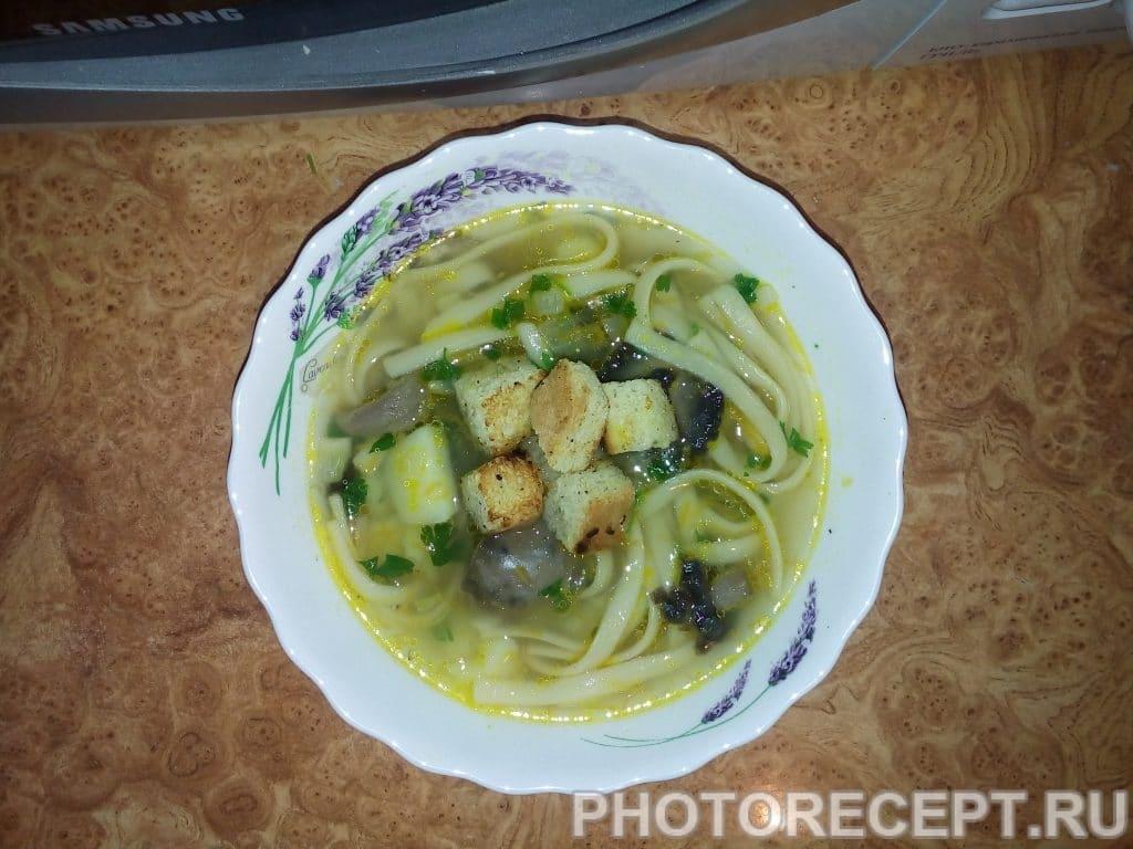 Фото рецепта - Грибной суп с лапшой - шаг 7