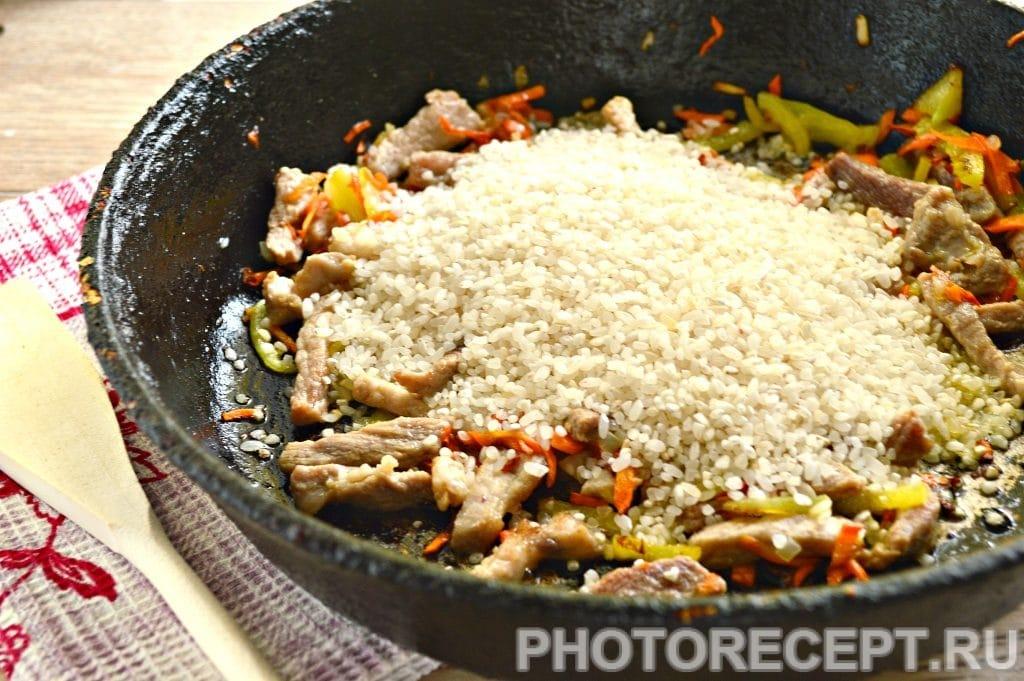 Фото рецепта - Рис со свининой на сковороде - шаг 4