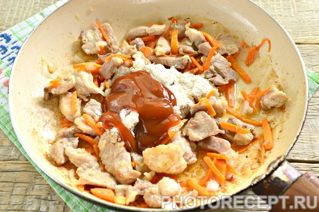 Фото рецепта - Мясо с овощами на сковороде - шаг 7