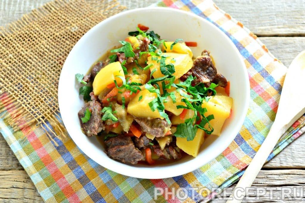 Фото рецепта - Тушеная картошка с баклажанами и говядиной - шаг 7