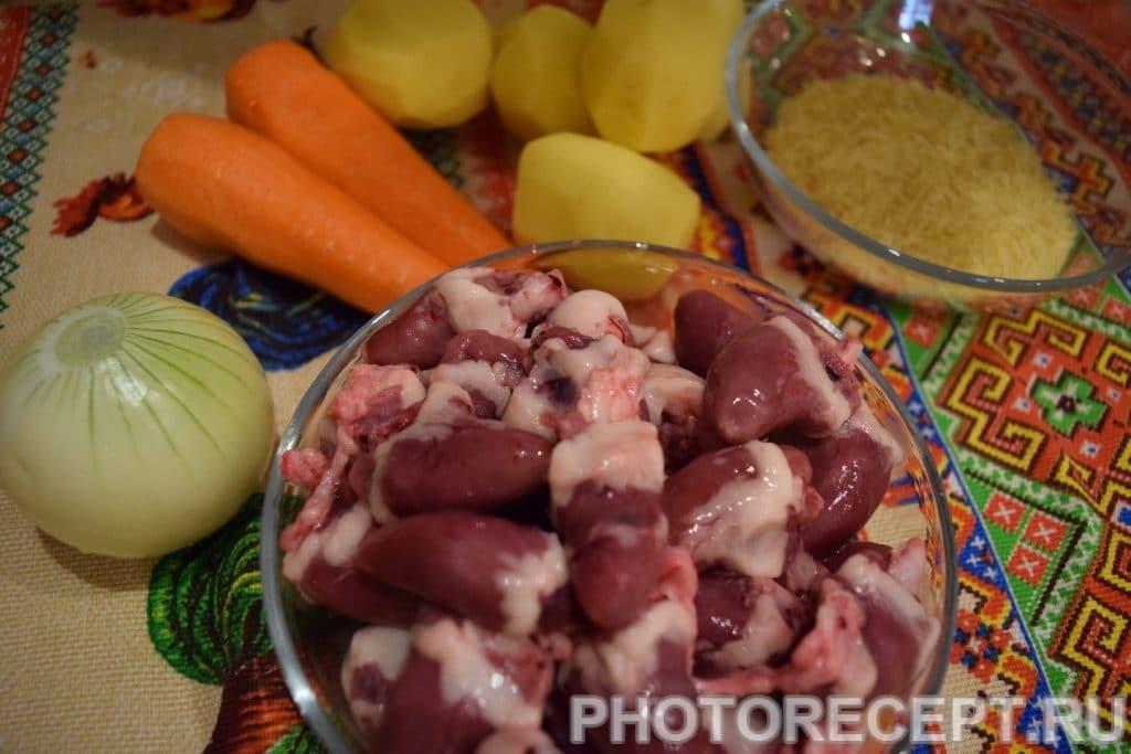 Фото рецепта - Легкий суп с куриными сердечками - шаг 1