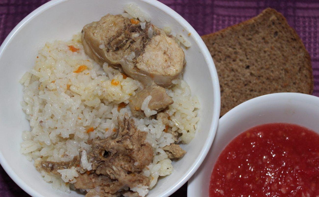Рис с мясом кролика