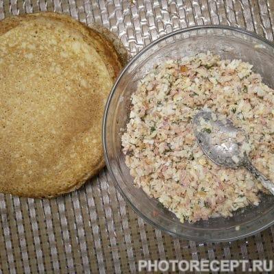 Фото рецепта - Блинчики, фаршированные рисом и копченой курицей - шаг 5
