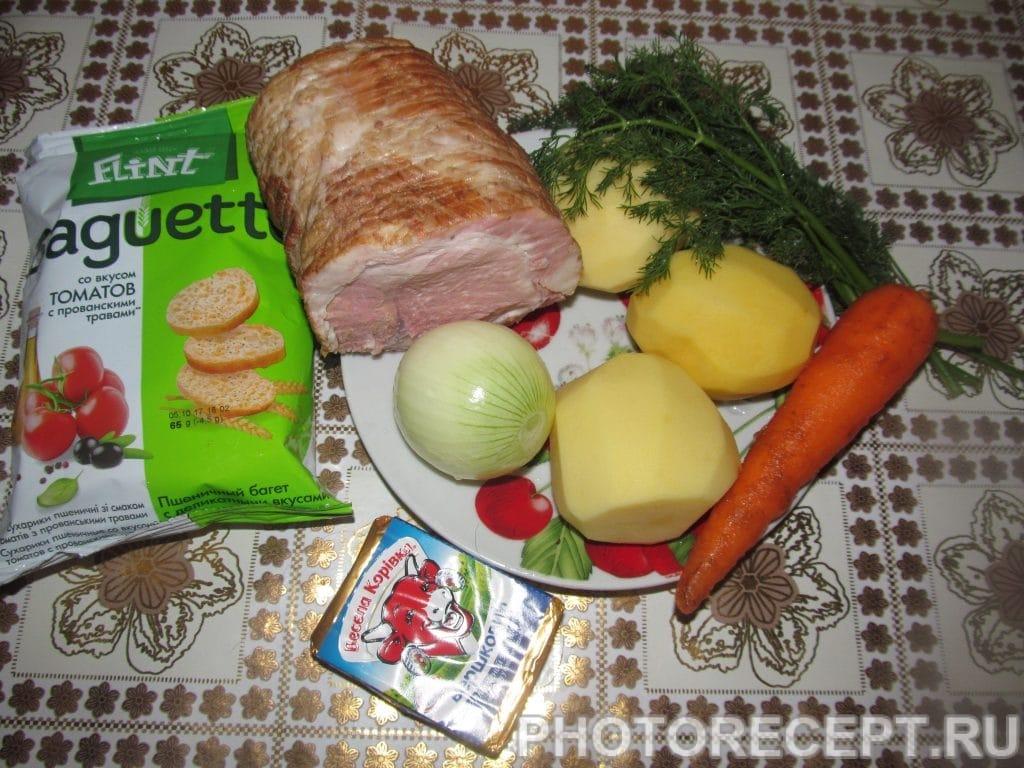 Фото рецепта - Сырный крем-суп с беконом - шаг 1