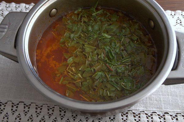 Фото рецепта - Борщ без капусты с корнеплодами и щавелем - шаг 4