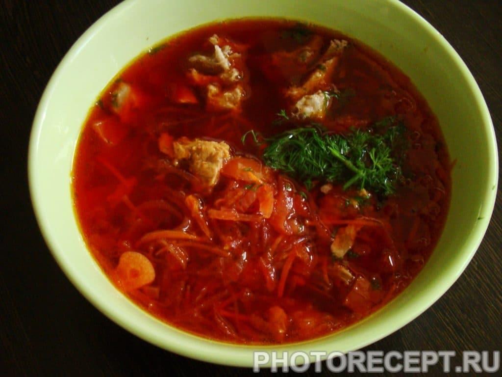 Фото рецепта - Горячий свекольник с мясом - шаг 10
