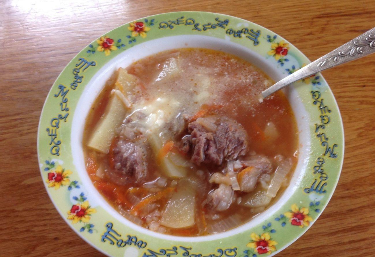 Суп харчо из свиных ребрышек