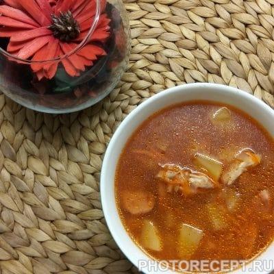 Солянка с колбасой - рецепт с фото