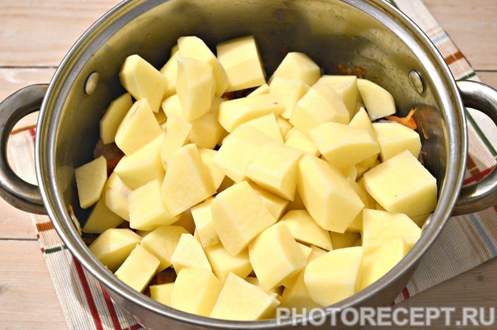 Фото рецепта - Картофельный суп со свининой и овощами - шаг 4