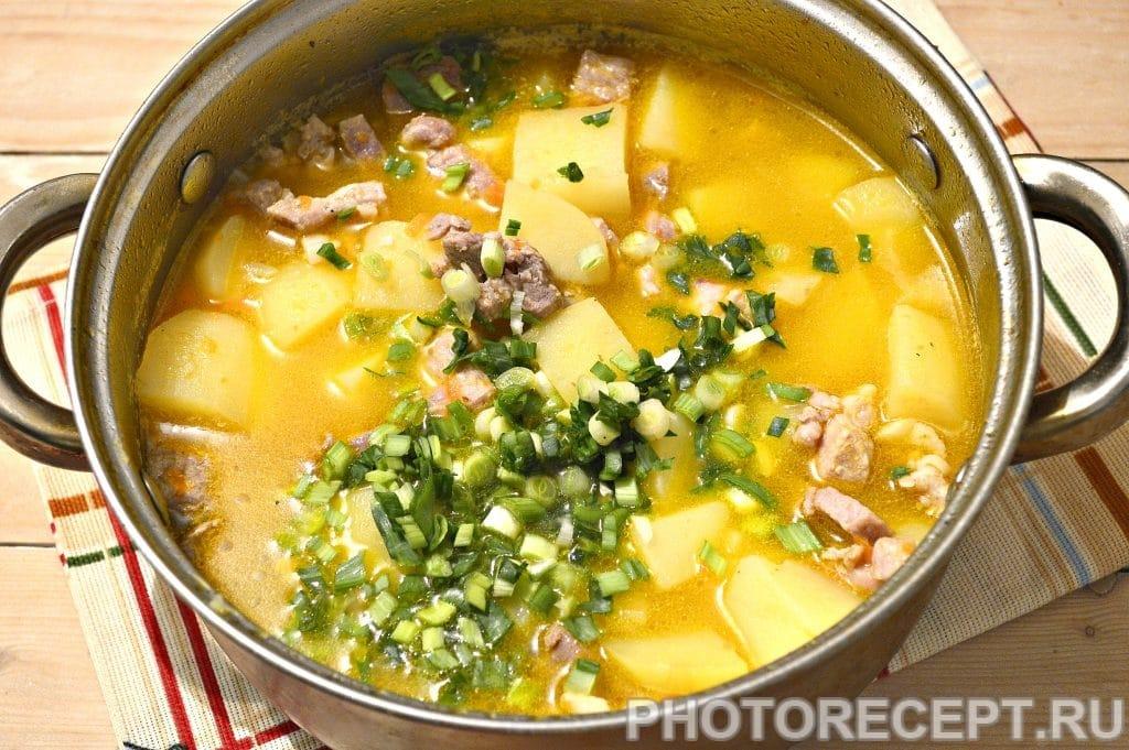 Фото рецепта - Картофельный суп со свининой и овощами - шаг 7