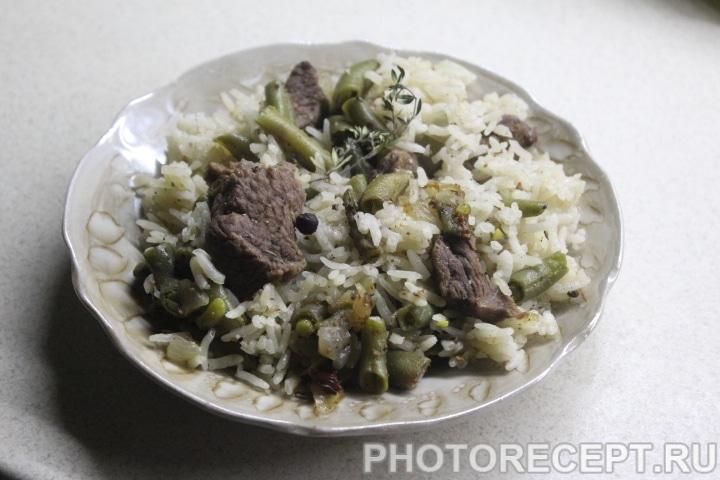 Фото рецепта - Рис с говядиной и стручковой фасолью - шаг 7
