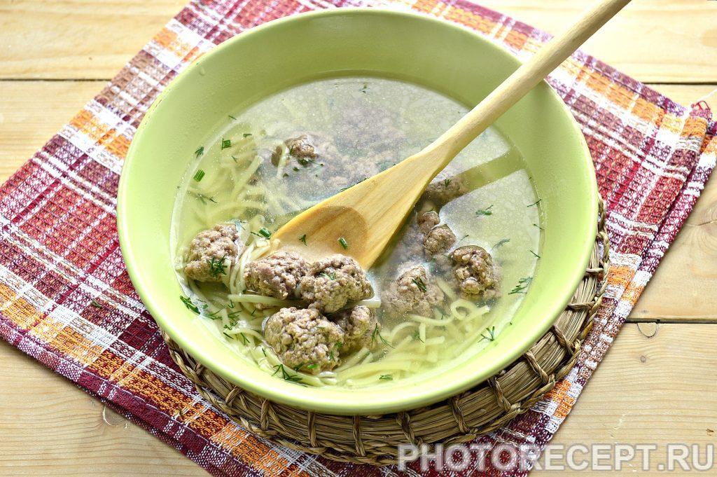 Фото рецепта - Простой суп-лапша с фрикадельками - шаг 6